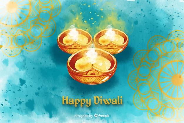 Watercolor diwali background
