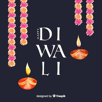 Watercolor diwali background