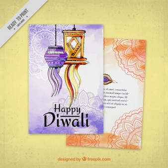 Watercolor diwali brochure templates