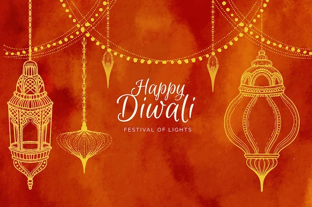Watercolor diwali concept
