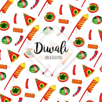 Watercolor diwali elements collection