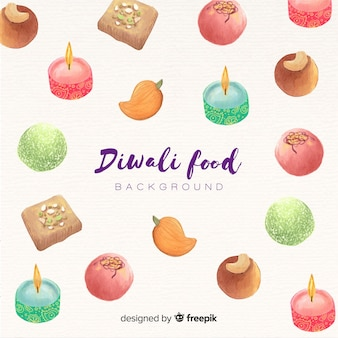 Watercolor diwali food background