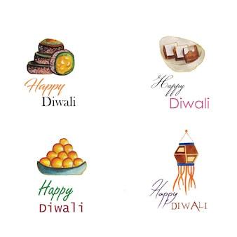 Watercolor diwali logo collection