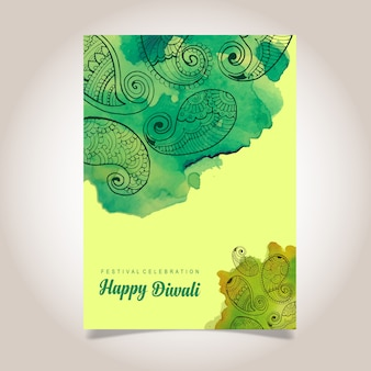 Watercolor diwali poster