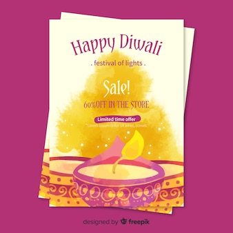 Watercolor diwali sale flyer template