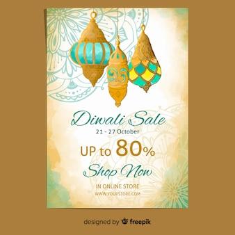 Watercolor diwali sale flyer template