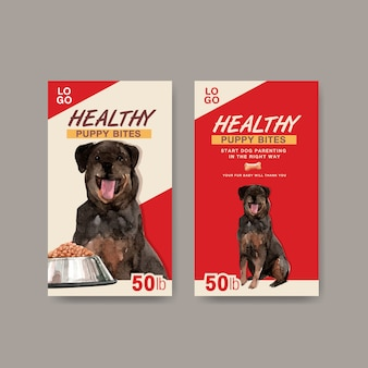 Акварель собака рекламный баннер набор шаблонов