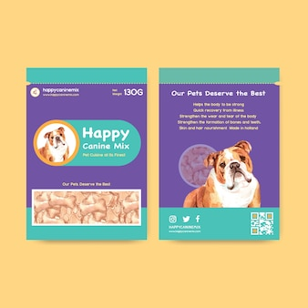 Watercolor dog advertisement banner template set