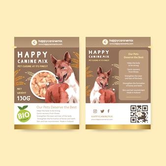 Watercolor dog advertisement banner template set