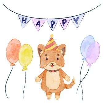 水彩犬-誕生日パーティー