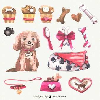 Watercolor dog elements
