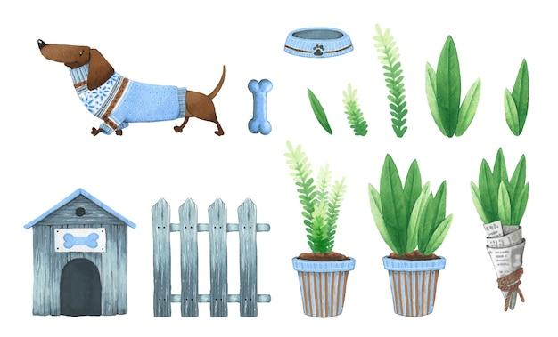 Акварельная собака в одежде, конура, забор, растения.