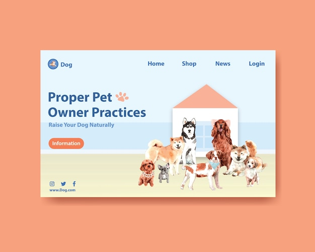 Watercolor dog webpage template