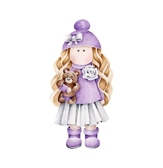 Watercolor doll in violet dress with bear in hand.girl toy