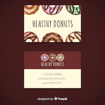 Watercolor donuts business card template