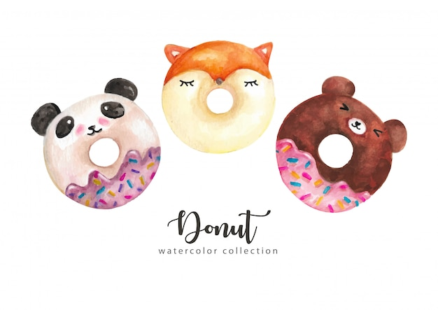Watercolor donuts funny character collection