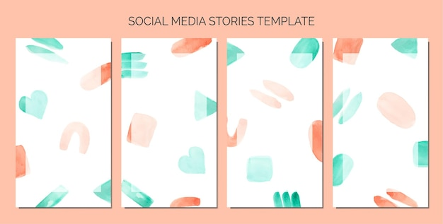 Watercolor doodle abstract as background of social media stories template