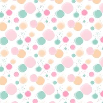 パステルカラーの水彩ドッティパターン