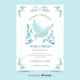 Watercolor dove first communion invitation