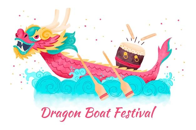 Watercolor dragon boat background concept
