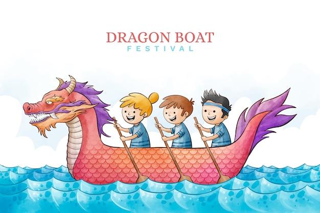 Watercolor dragon boat background