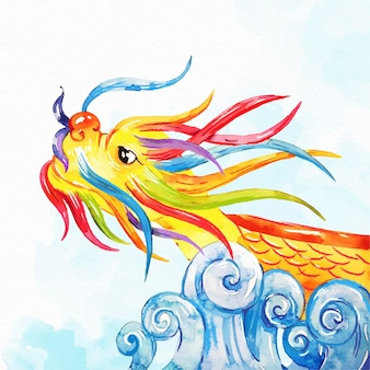 Watercolor dragon boat background