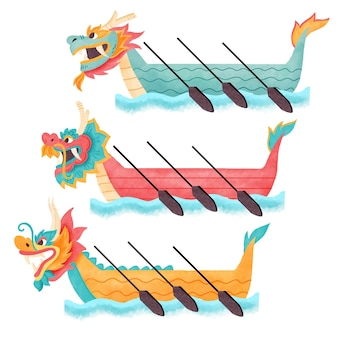 Watercolordragon boat collection