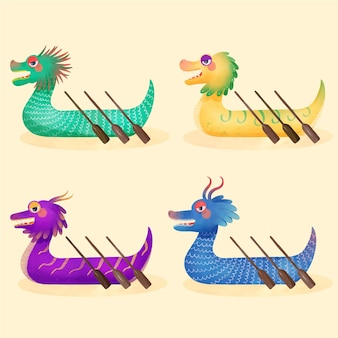 Watercolor dragon boat collection