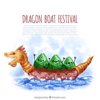 수채화 용 보트 축제 배경