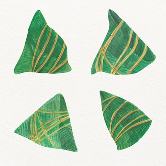 Watercolor dragon boat's zongzi collection