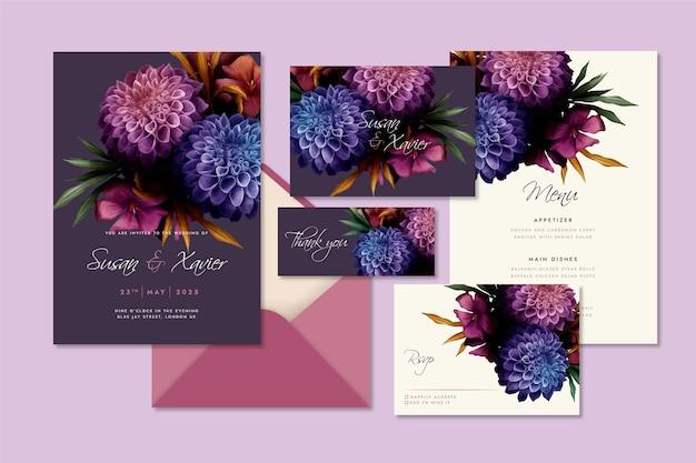 Watercolor dramatic botanical wedding stationery assortment
