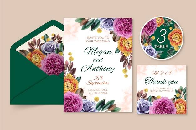 수채화 극적인 식물 결혼식 편지지 컬렉션