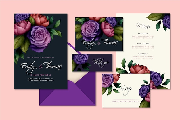 Watercolor dramatic botanical wedding stationery collection