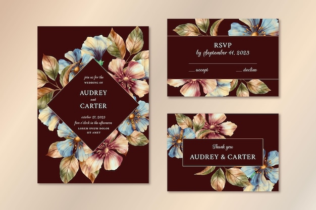 Watercolor dramatic botanical wedding stationery pack