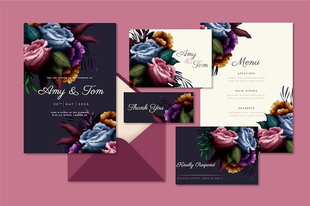 Watercolor dramatic botanical wedding stationery pack