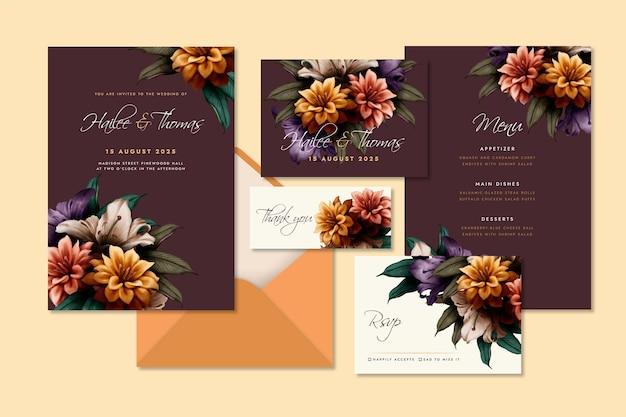 水彩画の劇的な植物の結婚式の文房具セット