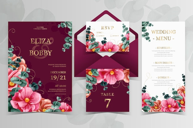 Watercolor dramatic botanical wedding stationery