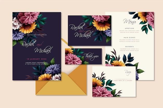 Watercolor dramatic botanical wedding stationery