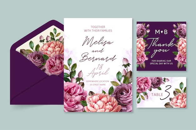Watercolor dramatic wedding stationery concept