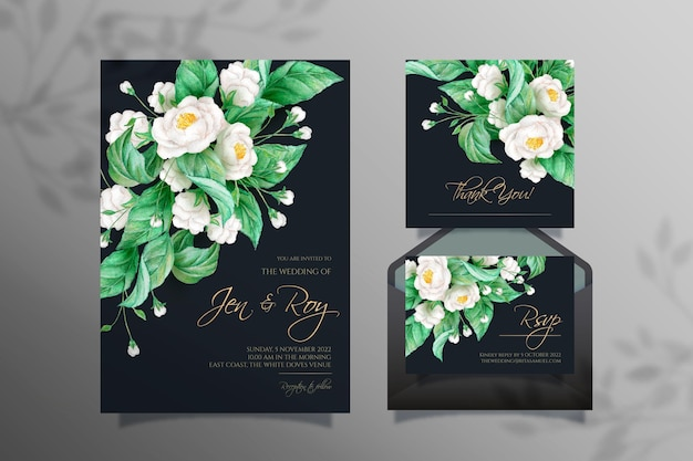 Watercolor dramatic wedding stationery theme