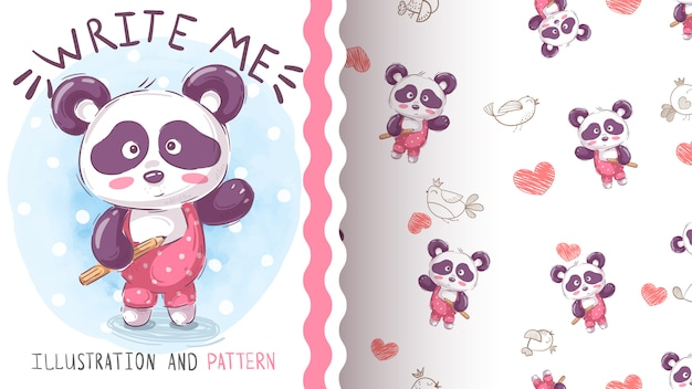 Watercolor draw panda seamless pattern
