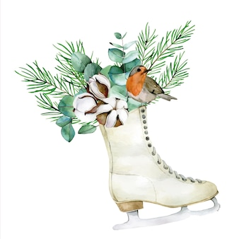 Watercolor drawing christmas composition with winter bird vintage skates cotton eucalyptus