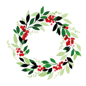 Watercolor drawing christmas new years wreath of green leaves eucalyptus and red berries