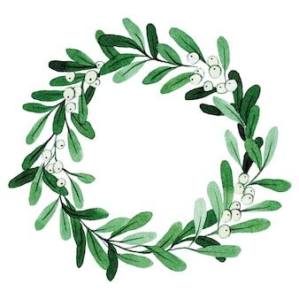 Watercolor drawing christmas wreath of mistletoe