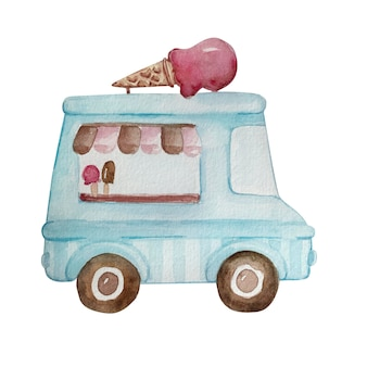 Watercolor drawing of colorful blue ice cream truck with service window, striped awning. handdrawn watercolor graphic painting on white background.