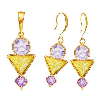 黄金のペンダントとイヤリングを描く水彩画。美しいファッションジュエリーセット。金の要素が付いた紫色の丸形と四角形、黄色の三角形のクリスタルジェムストーンビーズ。
