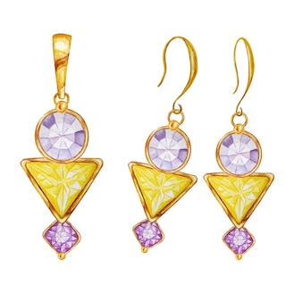 Watercolor drawing golden pendant and earrings. beautiful fashion jewelry set. purple round and square, yellow triangle crystal gemstone beads with gold element.
