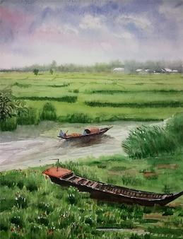 Акварельный рисунок зеленое поле, озеро и лодка