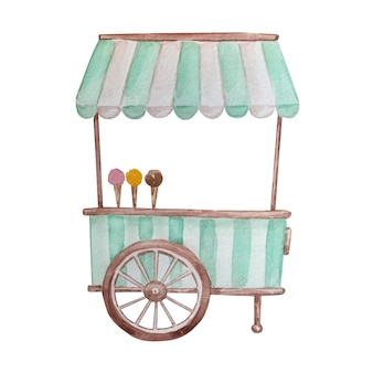 서비스 창, 줄무늬 천막이 있는 수채화 그리기 아이스크림 카트. 흰색 바탕에 handdrawn 수채화 그래픽 그림입니다.