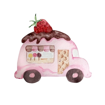 Watercolor drawing of a pink car with chocolate cream, strawberries, ice cream, service window, striped awning. handdrawn watercolor graphic painting on white background.